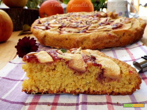 Crostata morbida arancio, mela e lamponi
