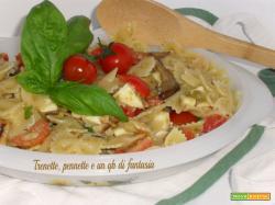 Farfalle fredde con olive, verdure e mozzrella