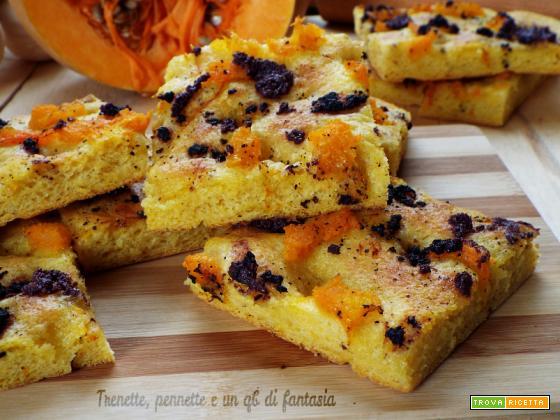 Focaccia gialla con zucca e olive