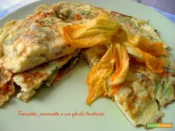 Frittata con fiori di zucca e gorgonzola e ricotta