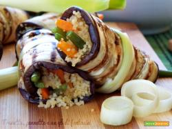 Involtini di melanzane con cous cous e verdure