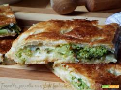 Pizza sfogliata con broccolo, alici e pecorino