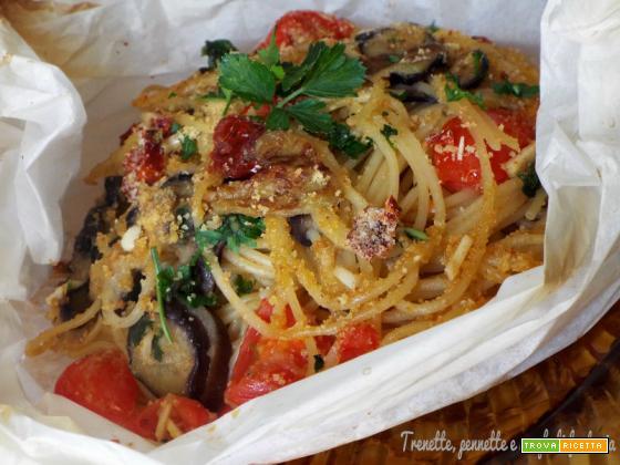 Spaghetti con melanzana al cartoccio