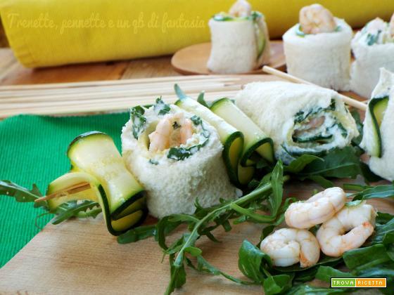 Spiedini di pane zucchine e gamberi