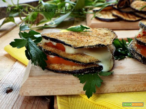 Torrette di melanzane con pomodoro e formaggio al peperoncino