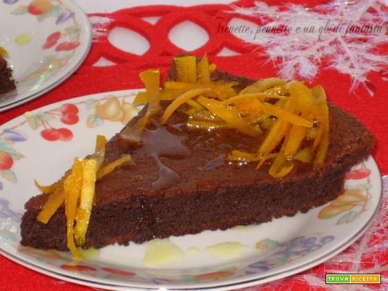 Torta al cioccolato con zeste di arancio caramellate