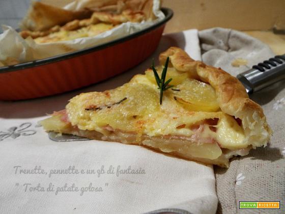 Torta rustica di patate, prosciutto e formaggio