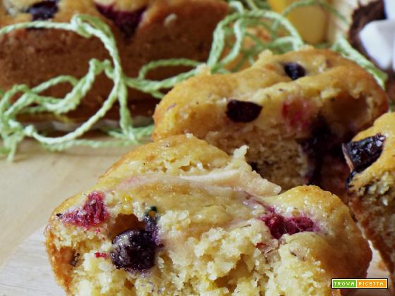 Torta soffice di mele, cocco e frutti rossi
