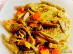 Merluzzo con funghi e curry al microonde