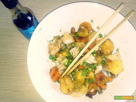 Insalata di merluzzo e patate in salsa di soia