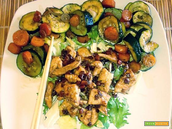Pollo con verdure alla soia (al microonde)