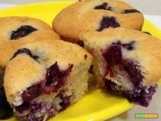 Muffin morbidissimi con mirtilli, banana e yogurt