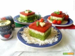 Tortino tricolore di riso e pomodoro