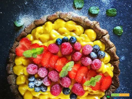 Frolla vegana colorata con  Alga Spirulina, frutta colorata e crema vegana !