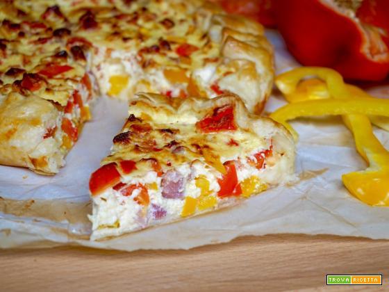 Torta Salata con Peperoni e Pancetta
