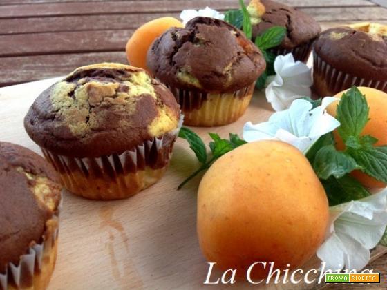 Muffin variegati al cioccolato con albicocche