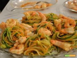 Spaghetti di verdura con mazzancolle