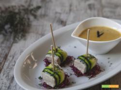 Bocconcini di tonno al timo limone e zucchine con crema di lupini, aglio nero e latte di riso