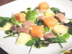 Antipasto di pesce sfizioso? Cubi di salmone e sgombro con pesto alla valeriana