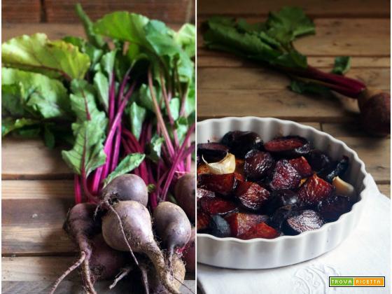 Essenza: Insalata di rape rosse, pompelmo e lupini con salsa di pane e foglie di rapa