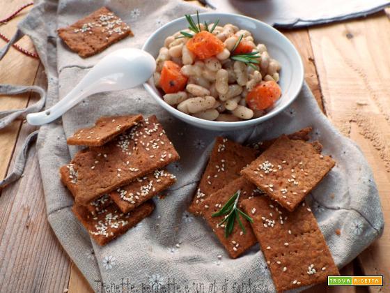 Crackers alla nduja senza lievito con fagioli cannellini