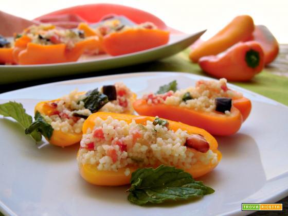 Peperoni snack ripieni di cuscus