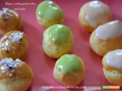 Bignè con crema, pistacchio e nocciola