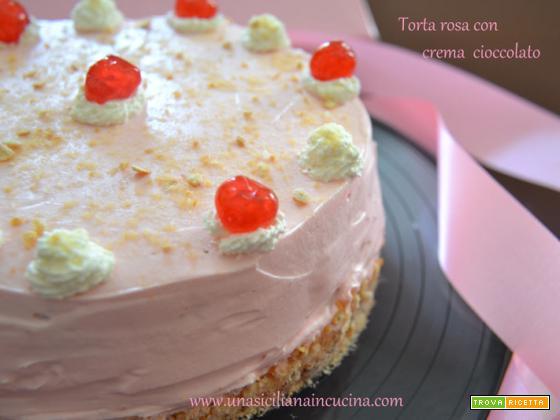 Torta rosa con crema cioccolato