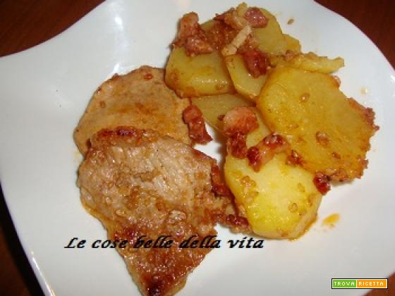Fettine di vitello con patate e pancetta