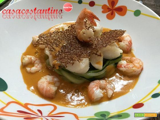 Spaghetti di zucchine e bocconcini di rana pescatrice con corallo al sedano, gambero rosso di Mazara e fumetto - Oggi cucina...Emanuele