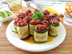 Paccheri di zucchine ripieni al riso rosso e bresaola