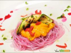 Pink noodles glass