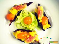 Barchette di Melanzane farcite con  Patate, Pomodorini gialli e Fichi freschi