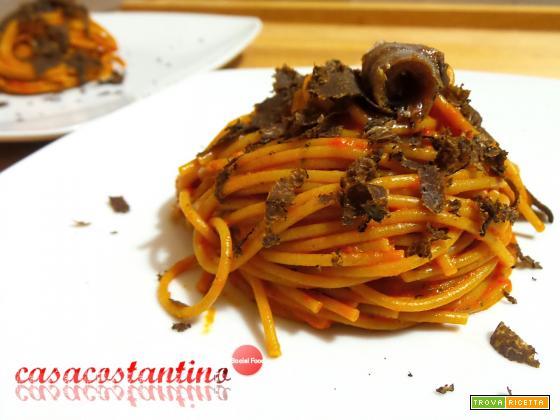 Spaghetti integrali con crema di peperoni e tartufo - Oggi cucina...Samanta