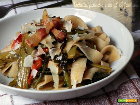 Pappardelle al farro con cicoria e pancetta croccante