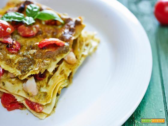 Lasagna con crema di fagiolini e pomodoro