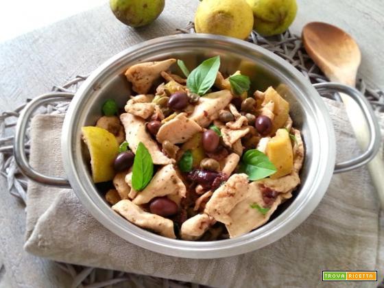 Pollo al limone con capperi e taggiasche senza grassi