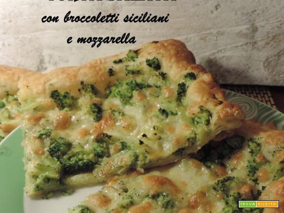 Torta salata con broccoletti siciliani e mozzarella