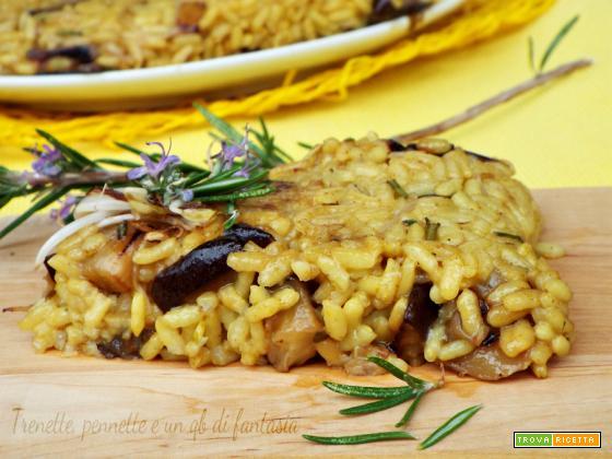 Schiacciata di riso con melanzana germogli di soia al curry