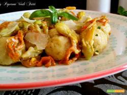 Gnocchi di ricotta e zucchine con burro parmigiano e fiori di zucca
