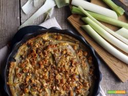 Essenza: Porri gratinati con tofu, nocciole e pimento