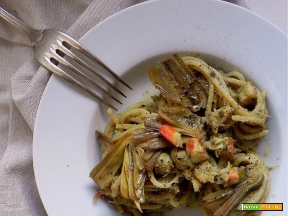 Spaghetti alla Chitarra Carciofi e Gamberi