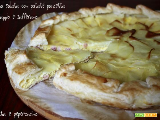 Torta salata con patate pancetta formaggio e zafferano