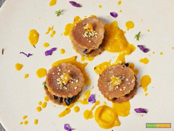 medaglioni di castagne con funghi e zucca