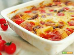 Clafoutis pomodorini, scamorza e acciughe