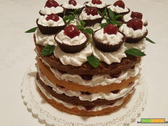 Torta bicolore con latte e scaglie di cocco, panna, cioccolato e amarene
