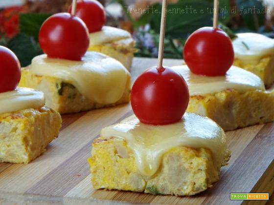 Cubotti di frittata con cavolfiore con formaggio filante