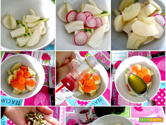 Insalata sfiziosa: ravanelli, mela, finocchio e carota
