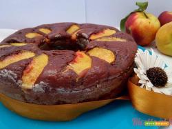 Torta pesche e cacao vegan