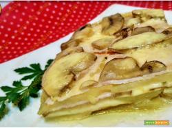 Sformato di patate funghi e prosciutto cotto